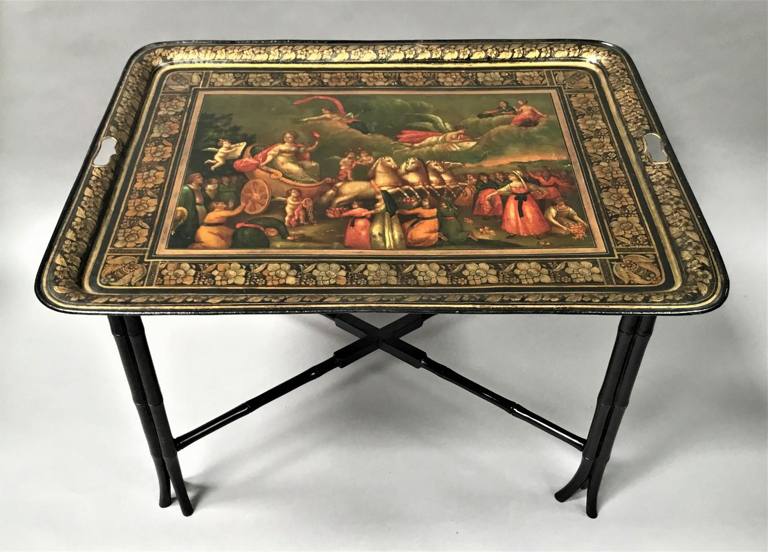 Regency painted tole tray on stand
