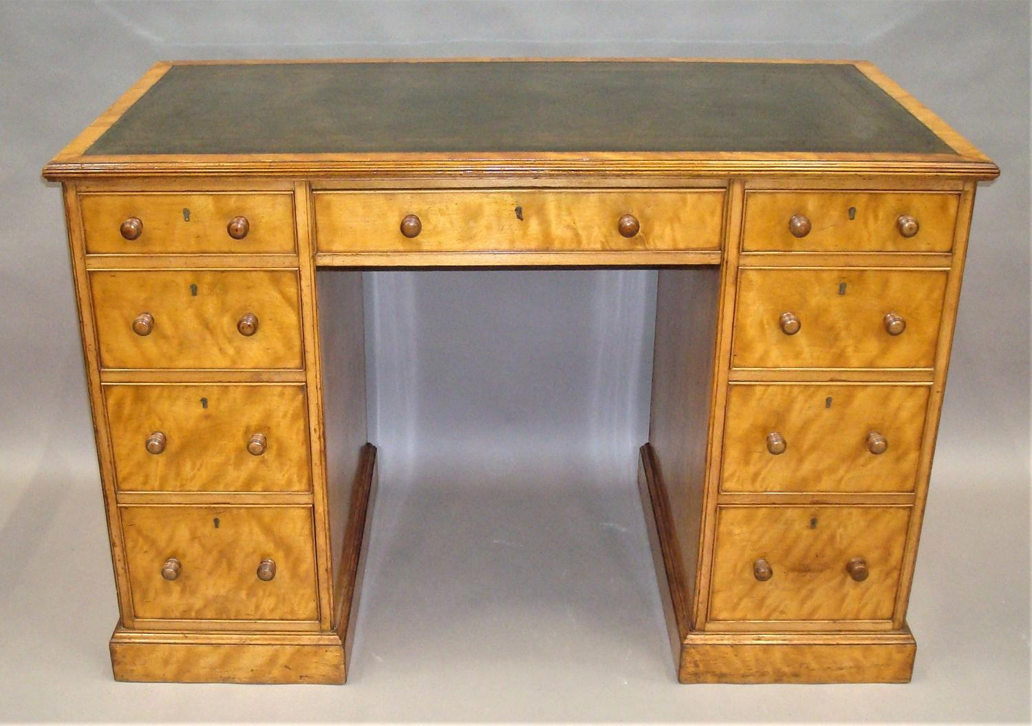 Regency satin birch pedestal desk