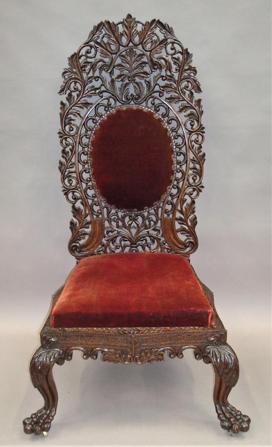 C19th Anglo Indian carved padouk side chair