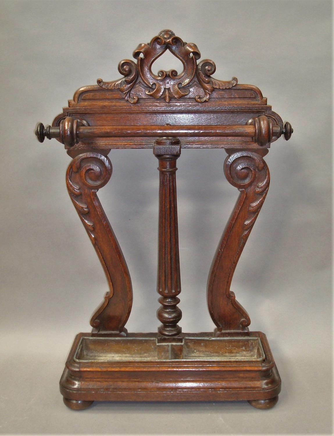 Regency oak stick stand / umbrella stand