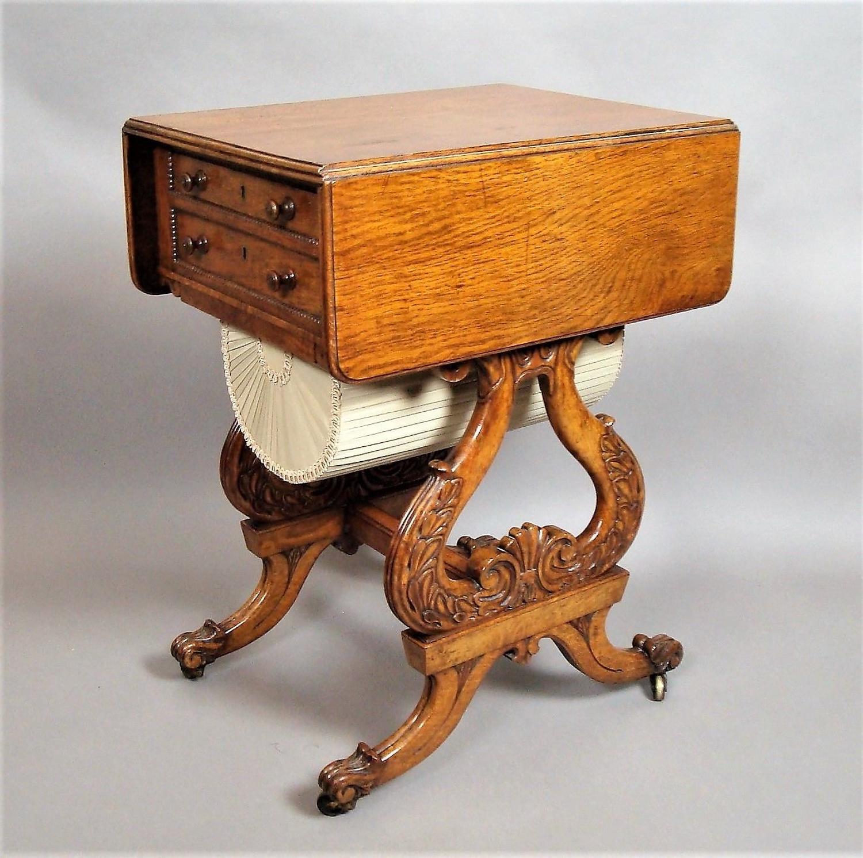 Regency pollard oak drop flap work table