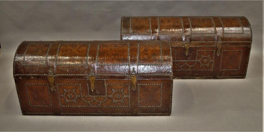 C18th pair of Spanish Leather Trunks