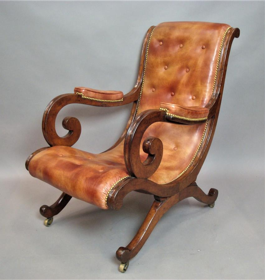 Regency mahogany and leather chair