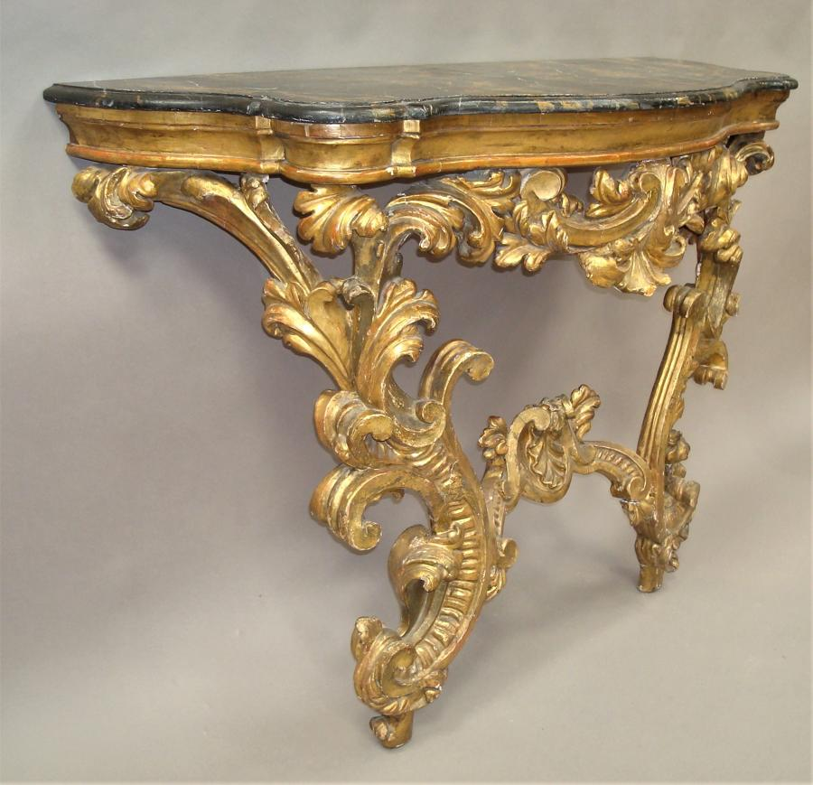 C18th Venetian Rococco giltwood console table