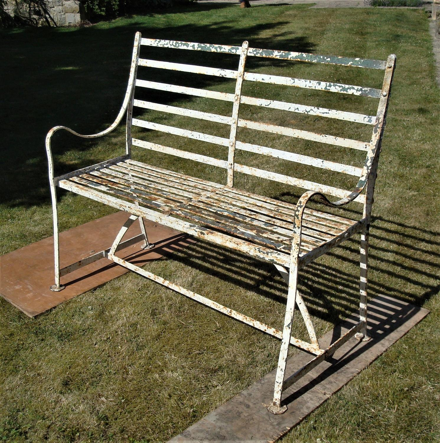 Regency wrought iron, slatted garden seat