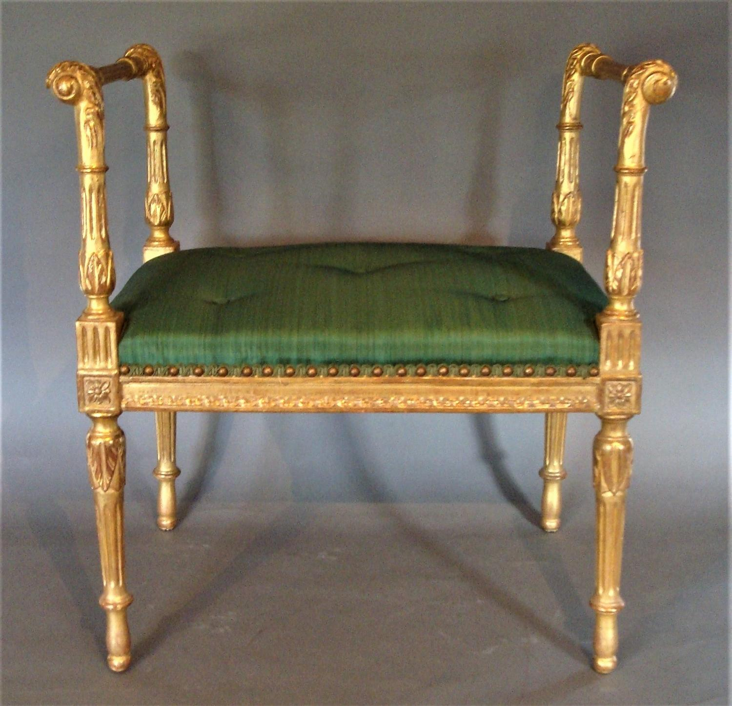 C19th neo classical giltwood window seat