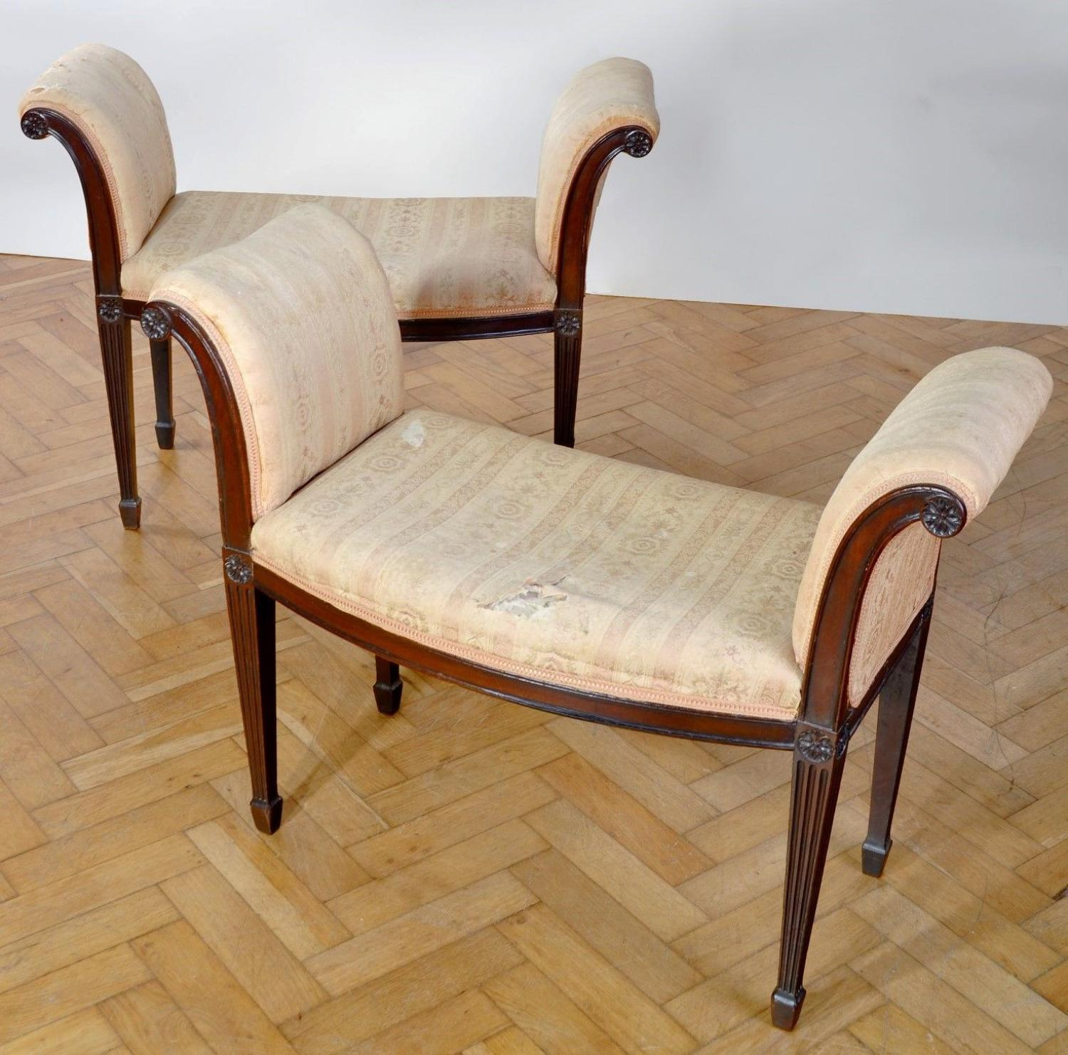 George III pair of mahogany window seats