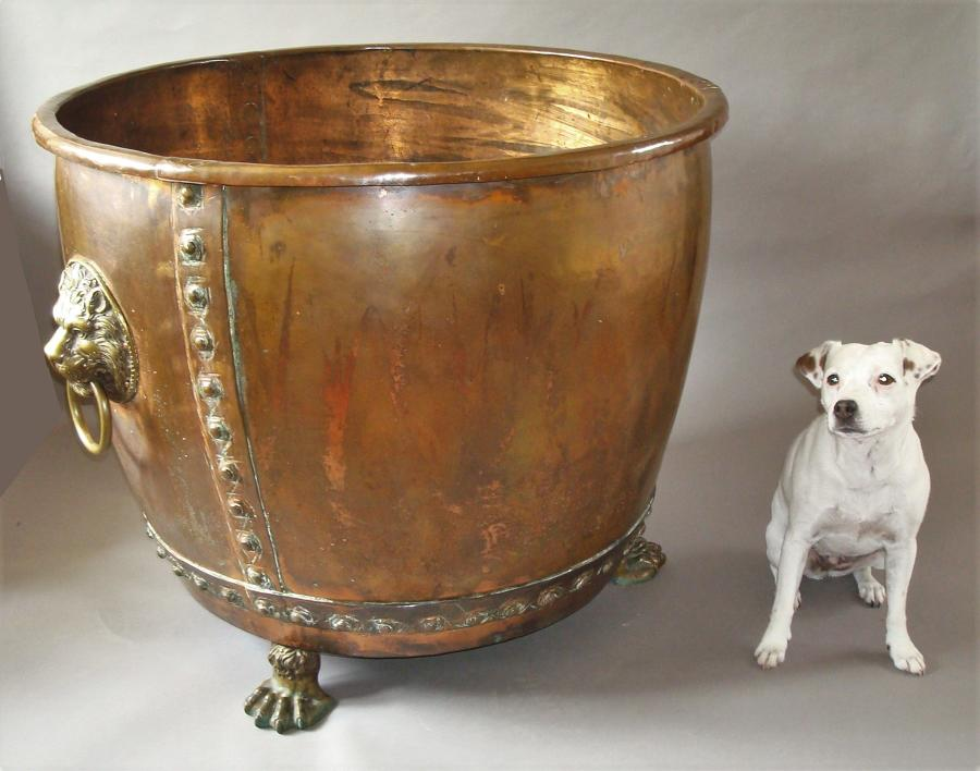 C19th English copper log basket