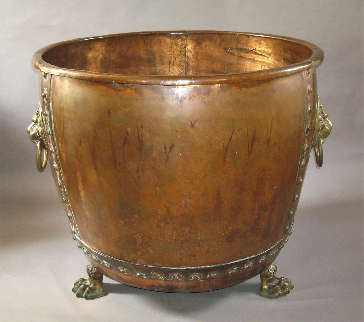 C19th English copper log basket