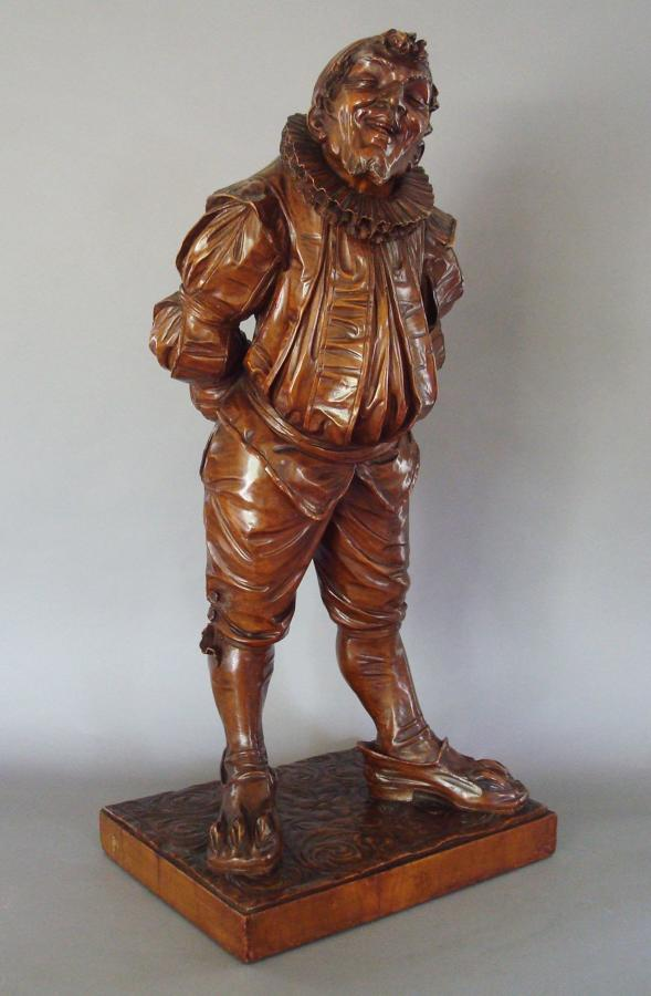 C19th Italian carved walnut 'Gobbo' sculpture