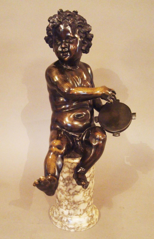 C19th bronze sculpture of a cherub