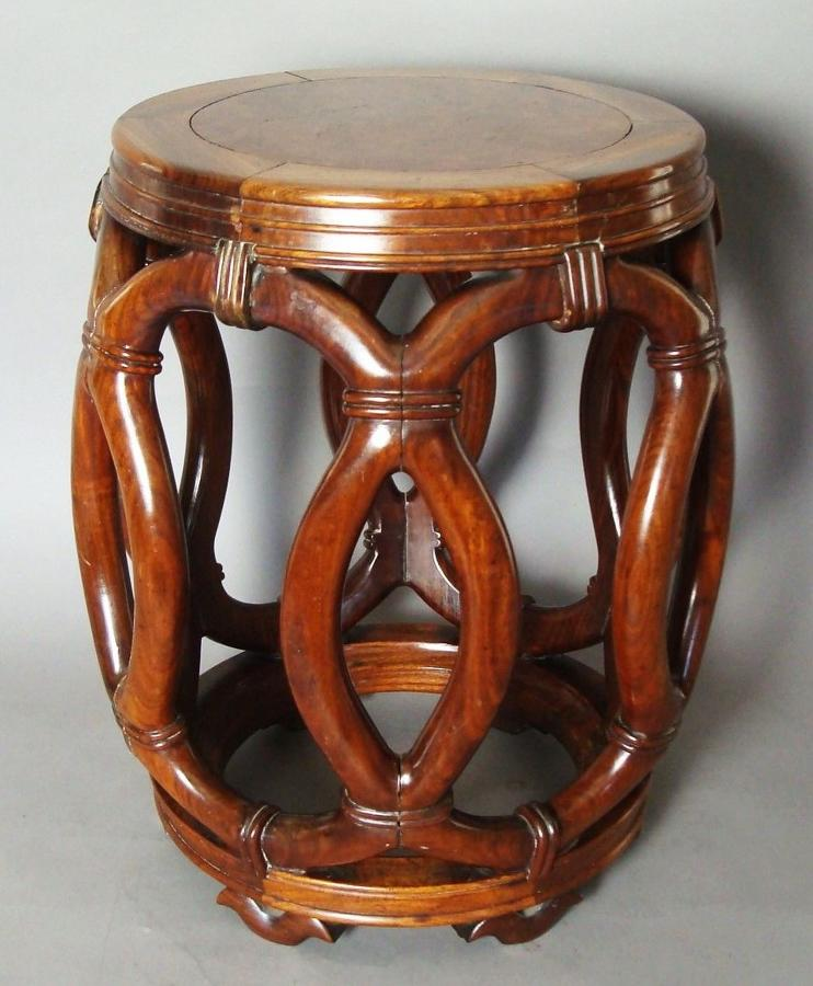 C19th Chinese hardwood stool