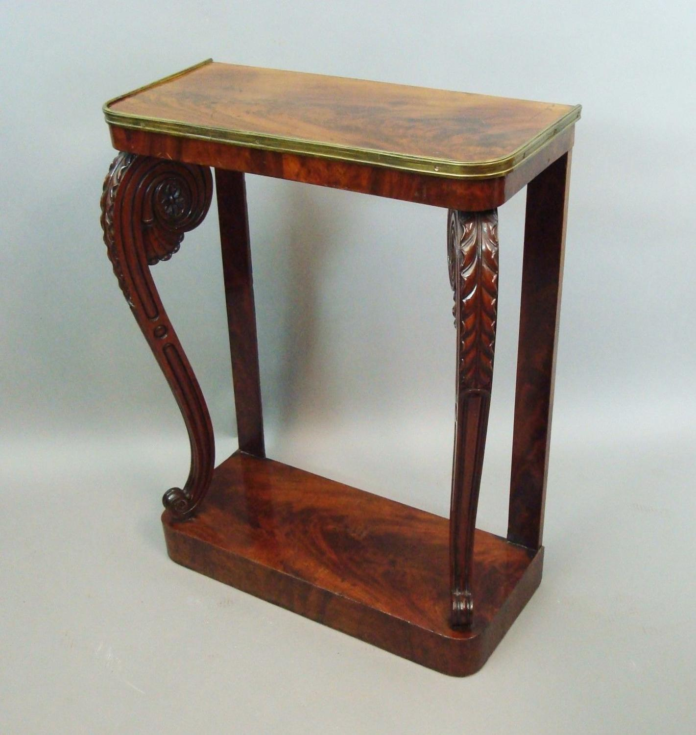 Regency figured mahogany console table