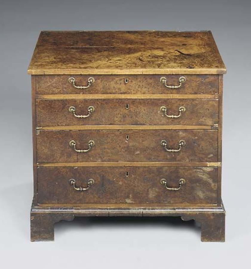 George III rare burr yew chest of drawers