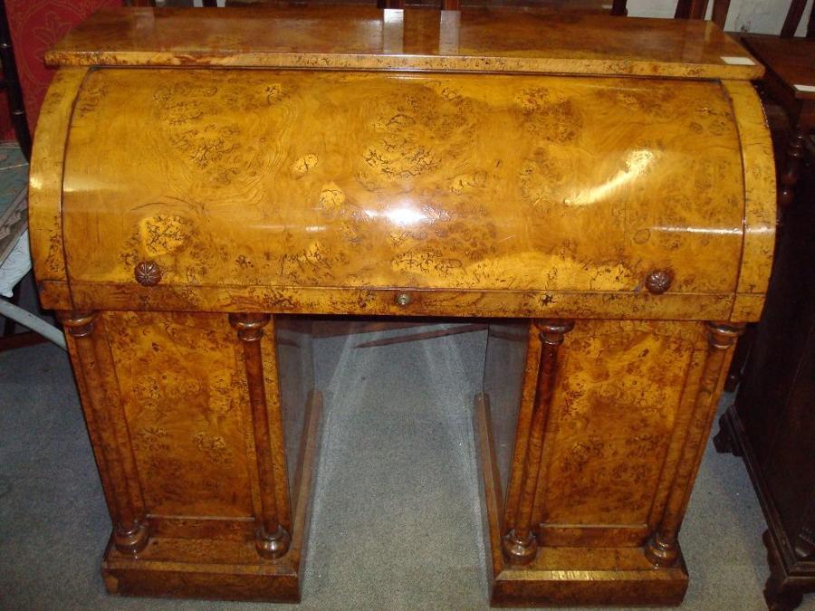 Geo IV burr ash cylinder top pedestal desk