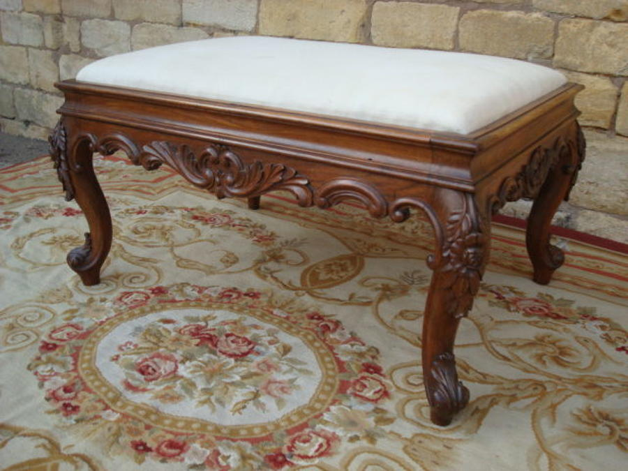 C19th carved colonial large stool
