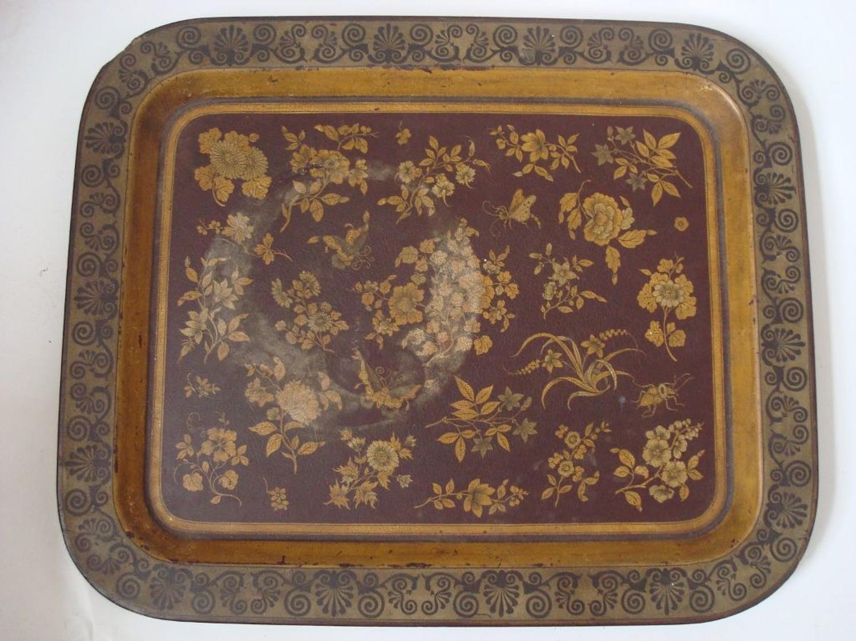 Papier mache dark red rectangular tray