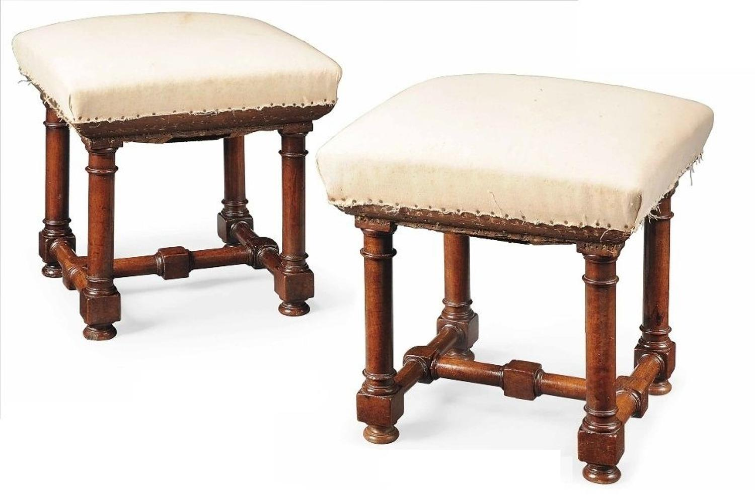 C18th pair of square walnut stools