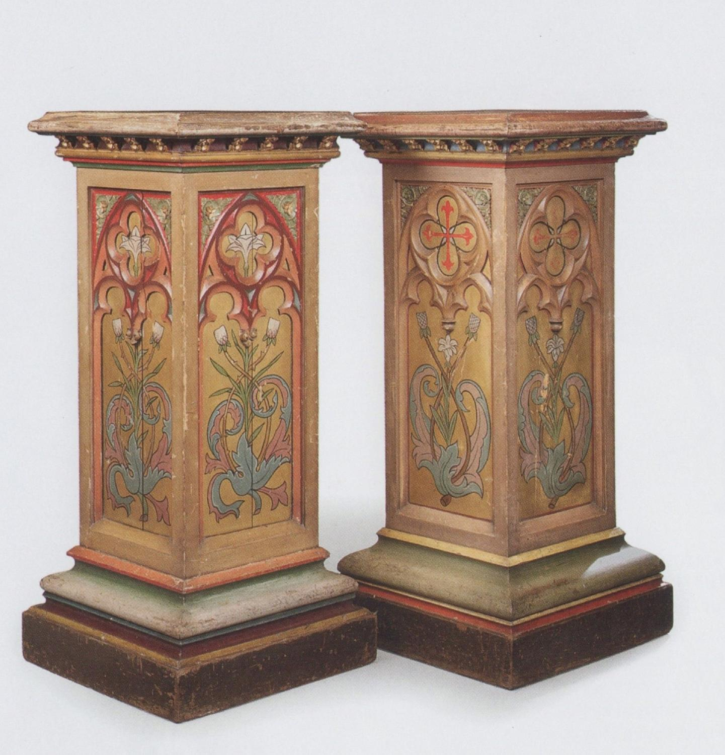 C19th polychrome decorated pedestals