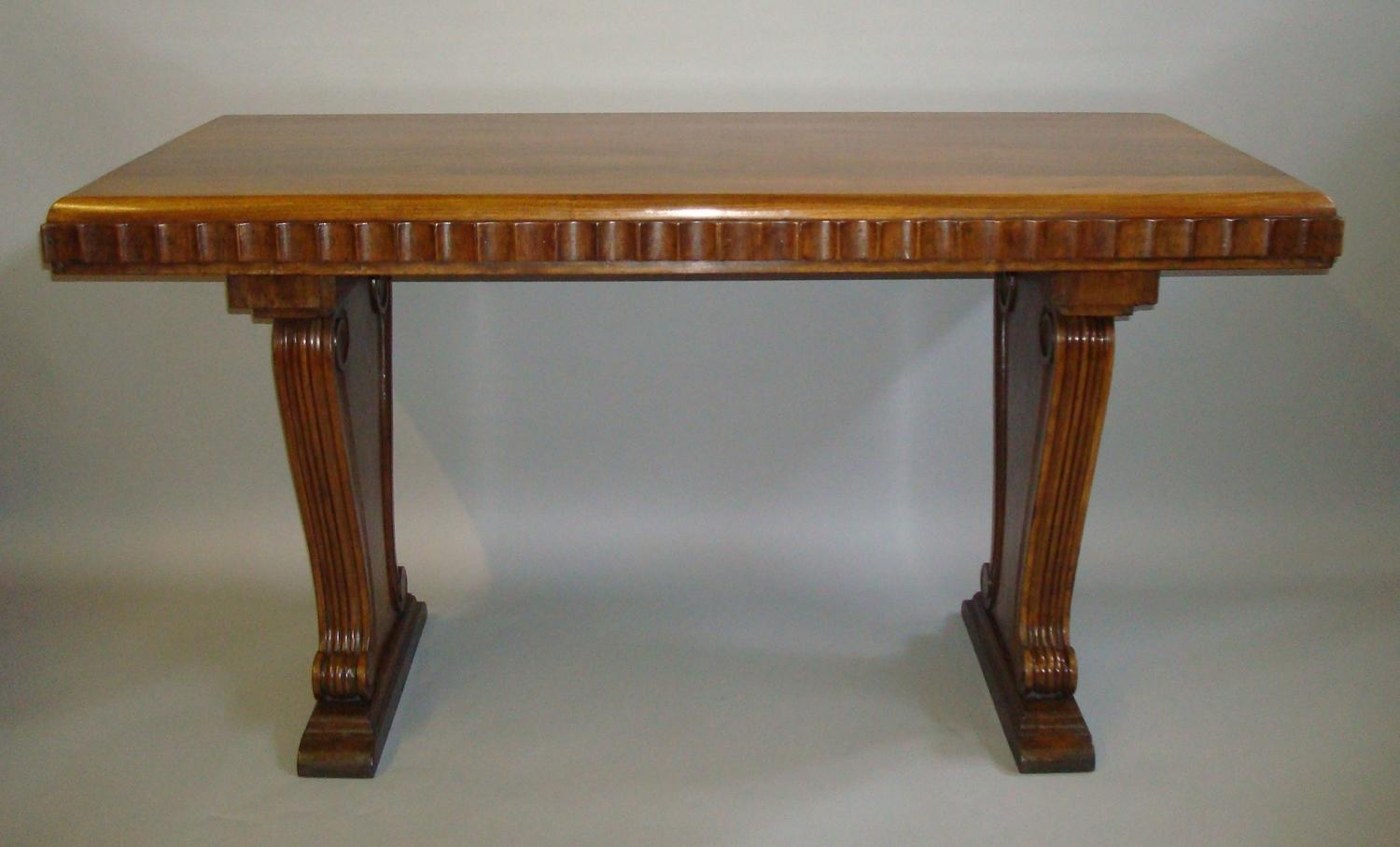 C20th walnut centre table