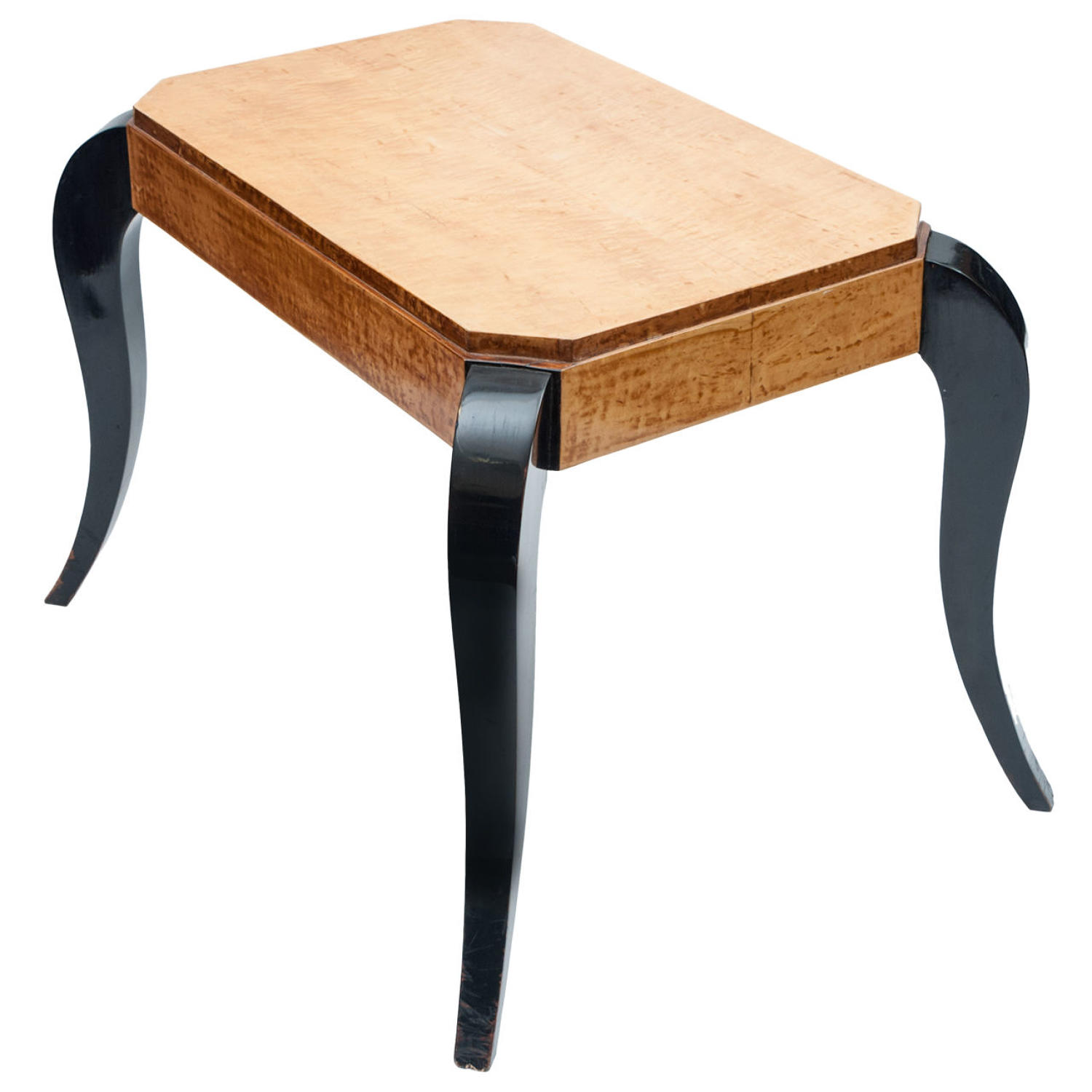 Art Deco birds eye maple and ebonised center table