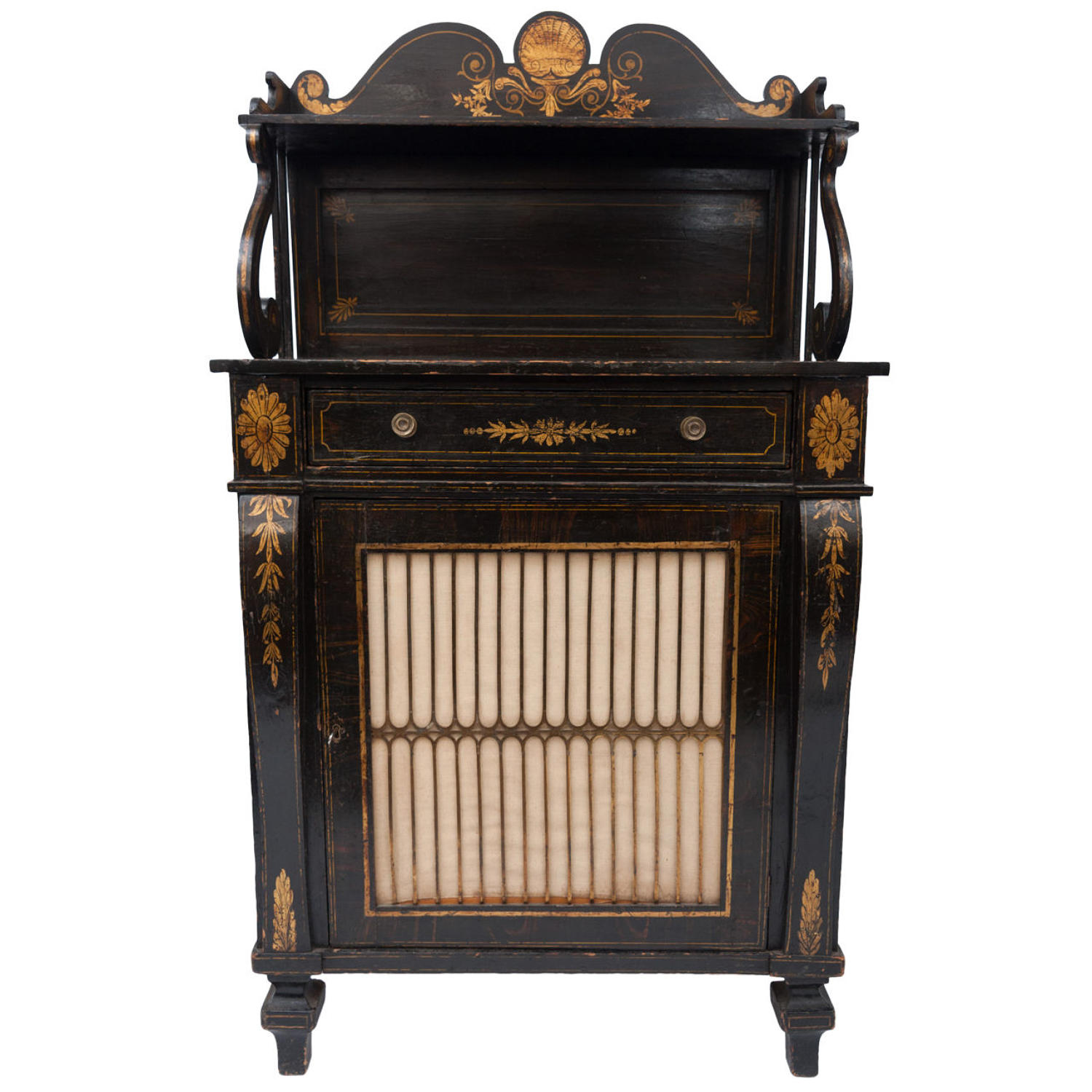 Regency black and gilt decorated chiffonier