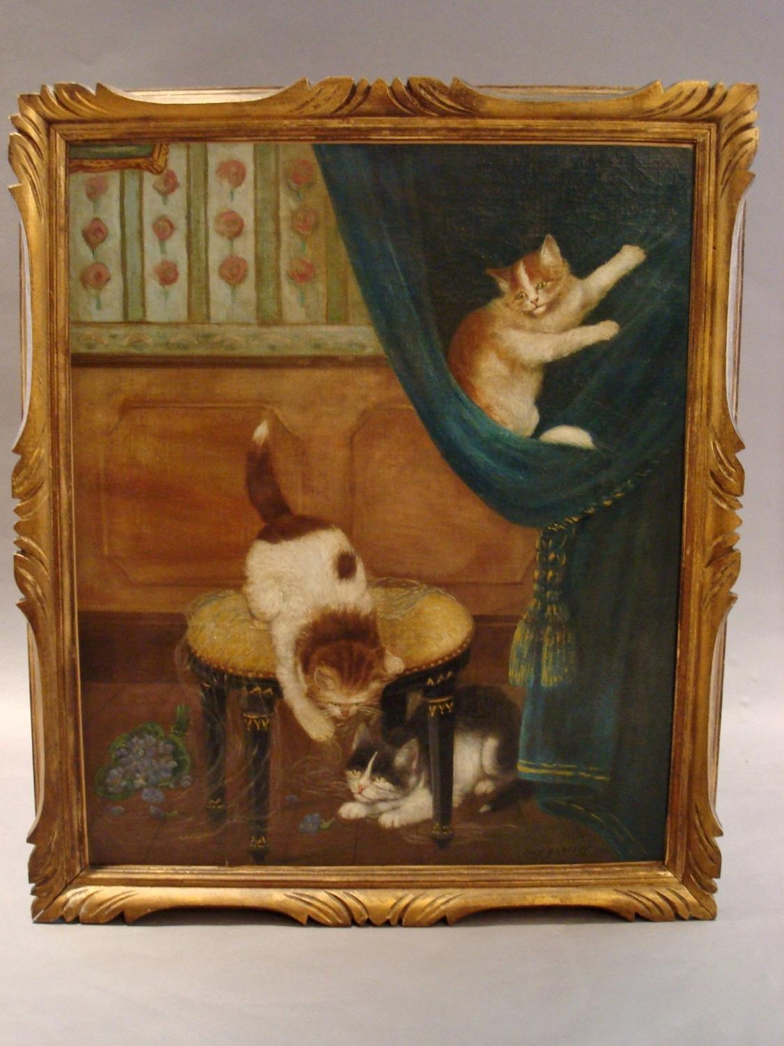 Oil painting of cats