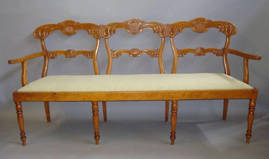 C19th maple biedermeier chair back settee