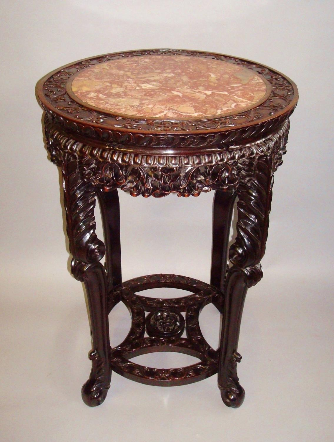 C19th Chinese Hongmu urn stand
