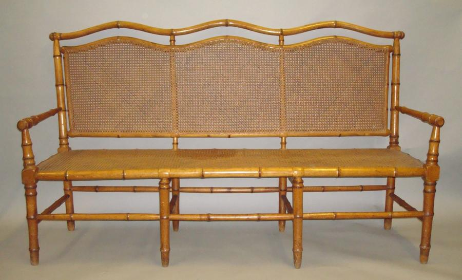C19th cherrywood faux bamboo settee
