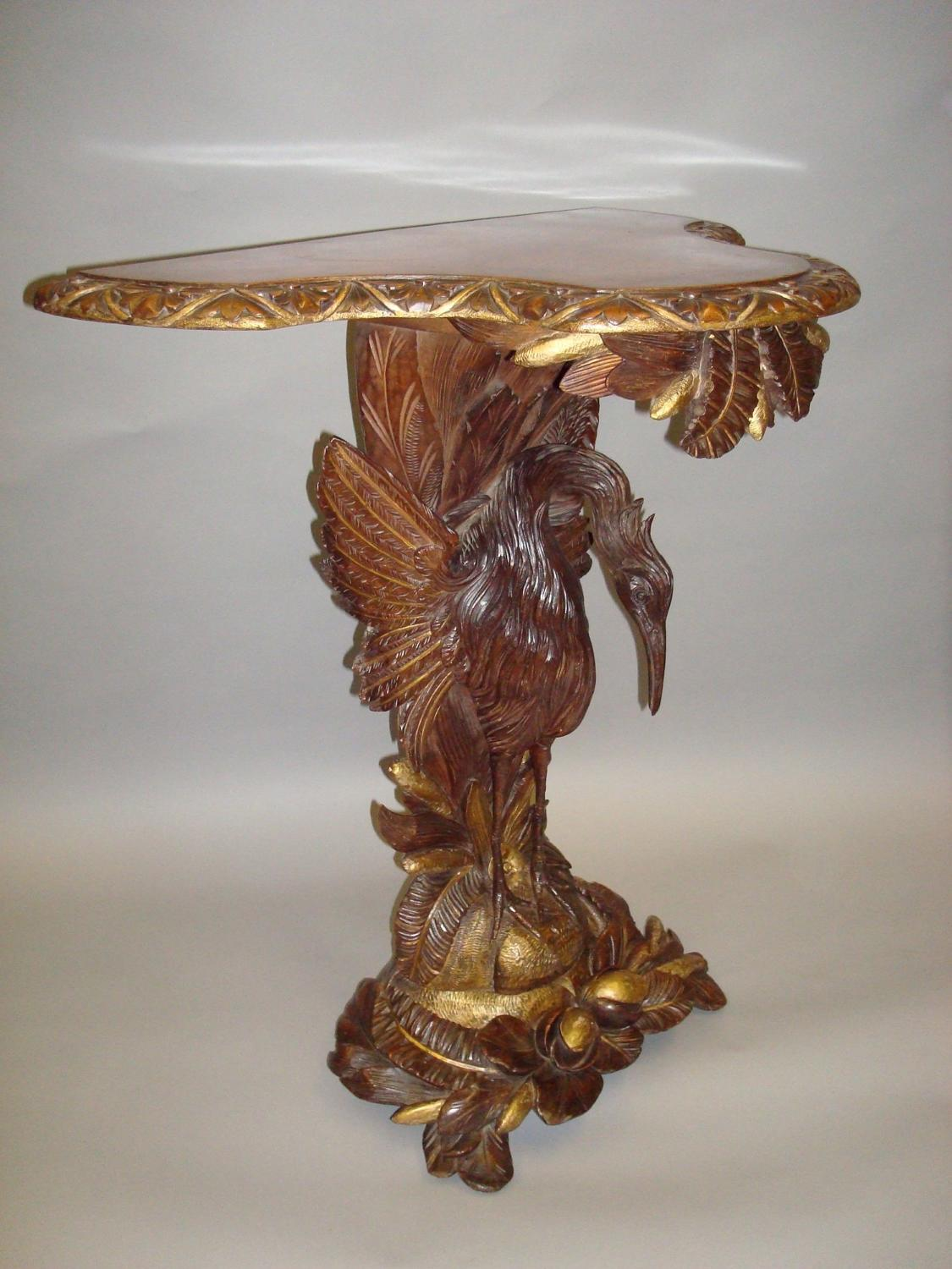 C19th carved walnut and gilt console table