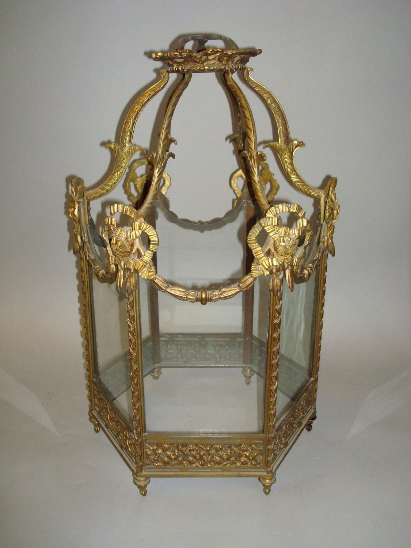 C19th gilt brass hexagonal hanging lantern