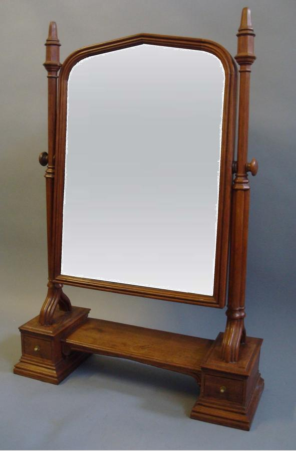 C19th Gothic oak dressing table mirror