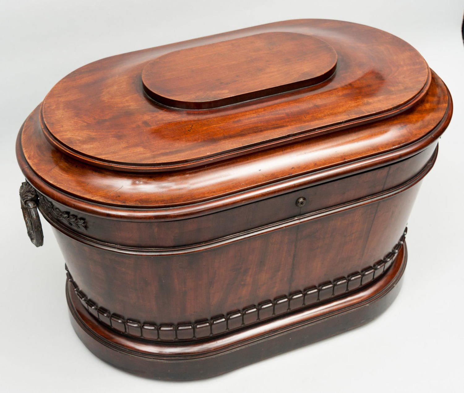Regency mahogany and bronze mounted oval wine cooler