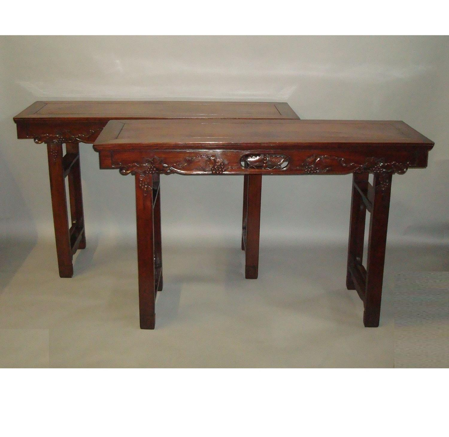 19th century pair of Chinese Hongmu alter tables