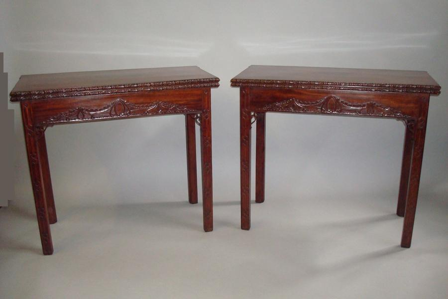 George III pair of mahogany tea and card tables