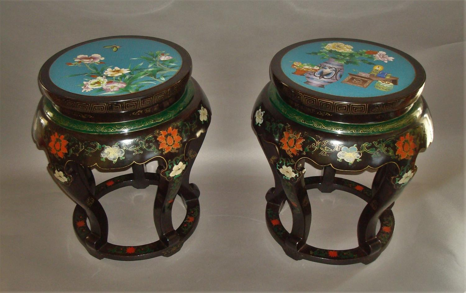 A pair of Chinese lacquered low tables