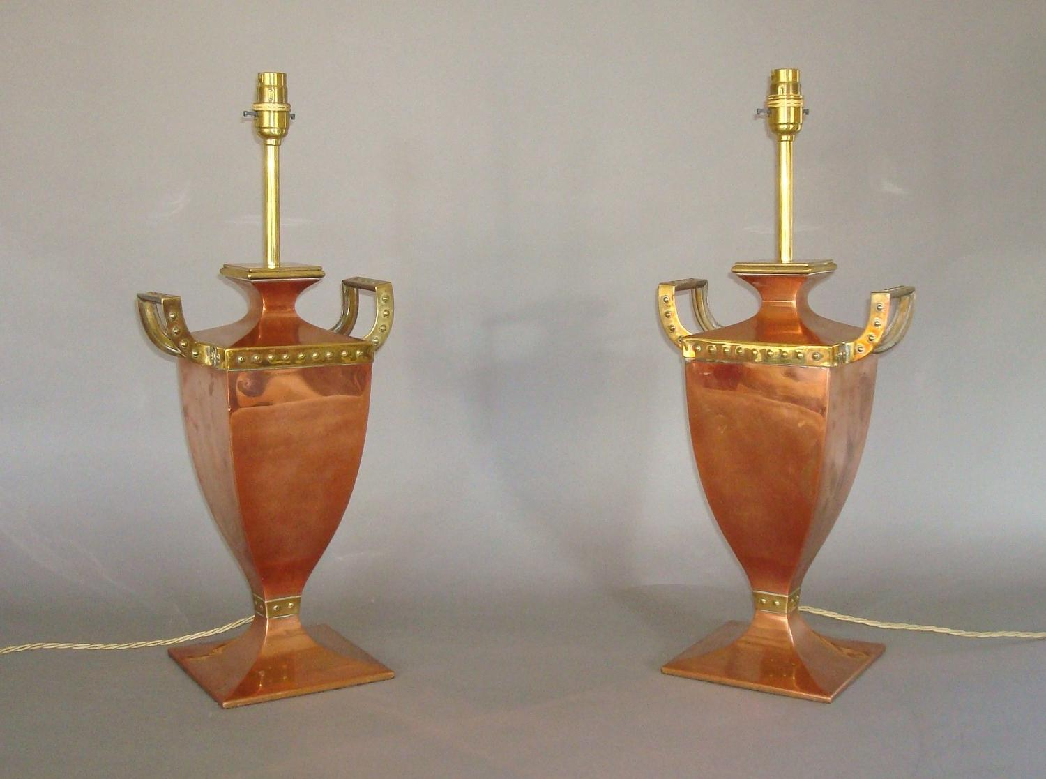 20th century pair of copper and brass lamps