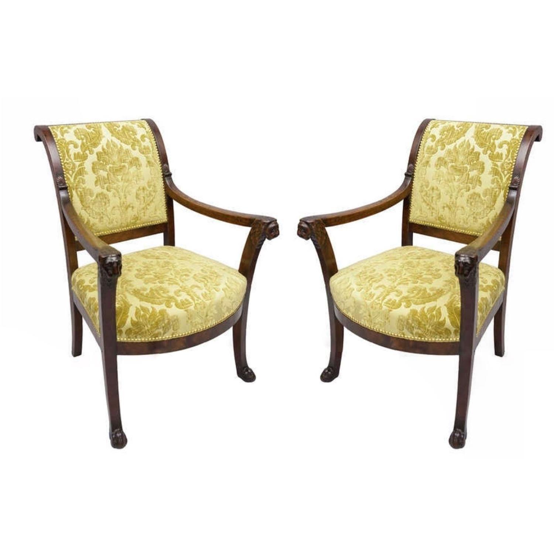 C19th near pair of mahogany Directoire fauteuils