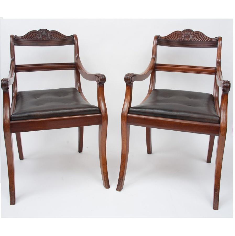 C19th pair of mahogany open armchairs