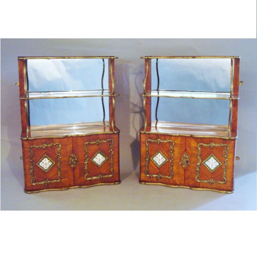 19th century pair of English hanging wall cabinets