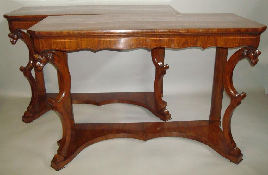 C19th pair of Italian walnut console tables