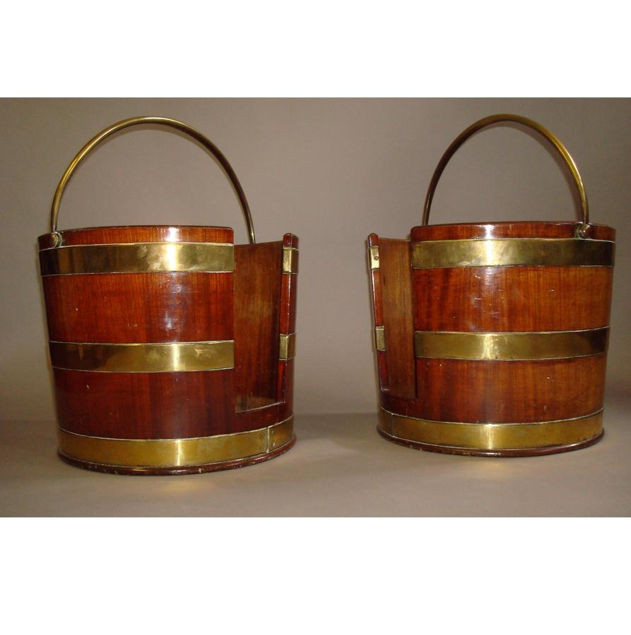 George III brass bound mahogany plate buckets