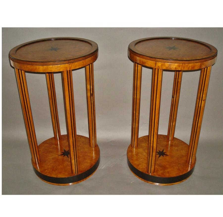 A pair of burr elm and ebony occasional tables