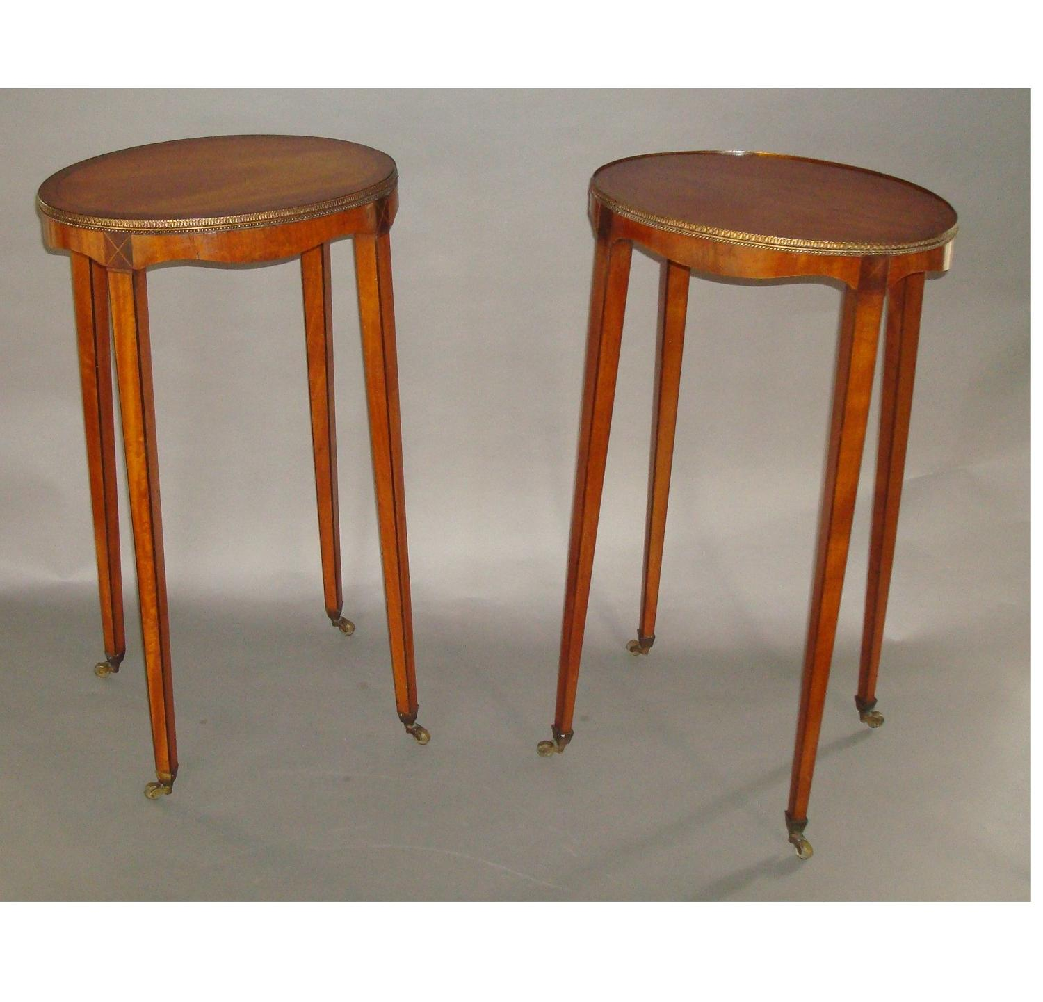 George III matched pair of satinwood urn stands