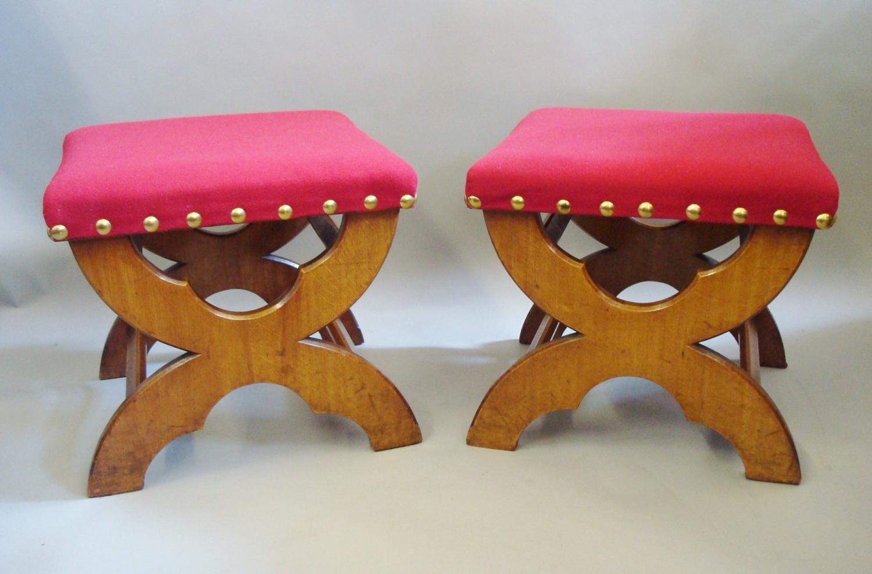 C19th pair of Gothic golden oak stools