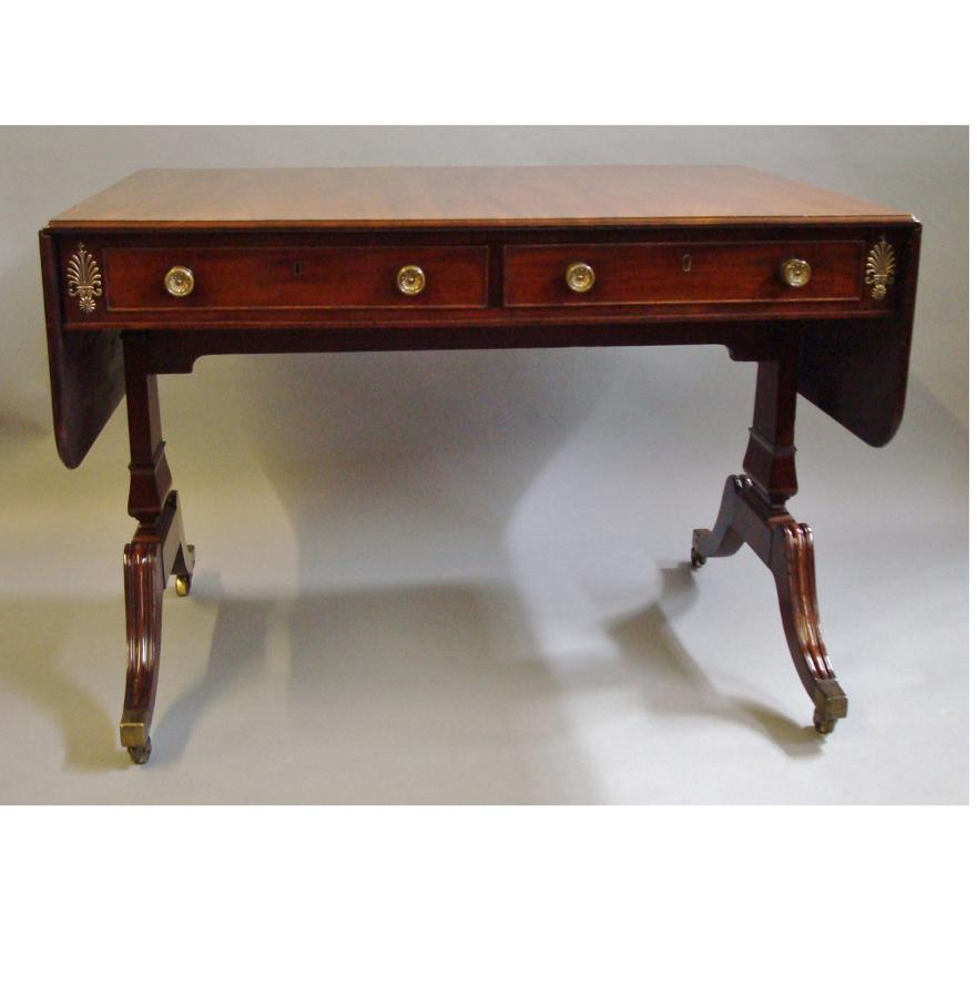 Regency mahogany and brass mounted sofa table