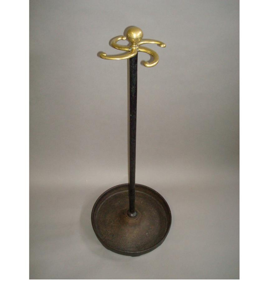 Regency cast iron and brass stick stand