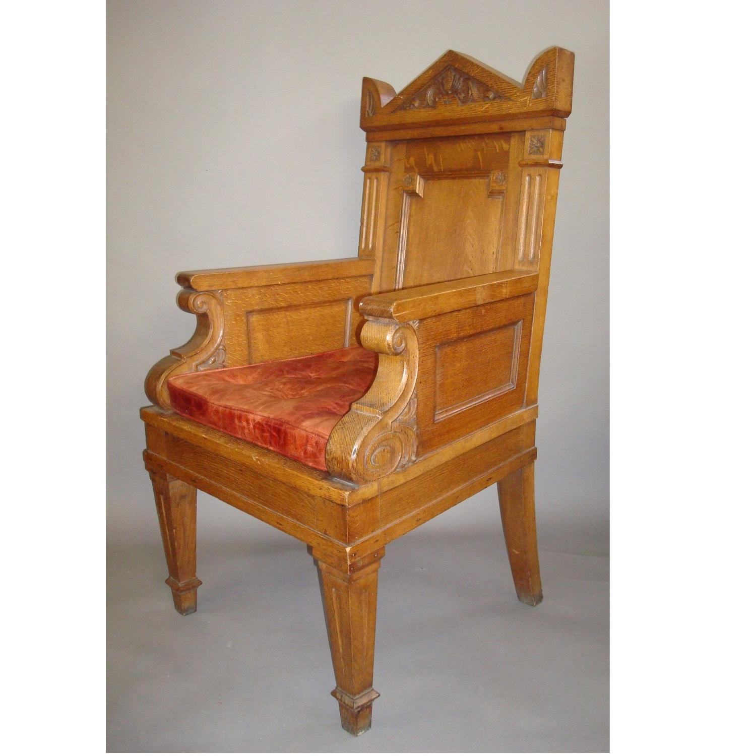 C19th imposing oak throne armchair