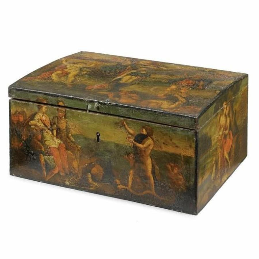 C18th Dutch painted tole casket